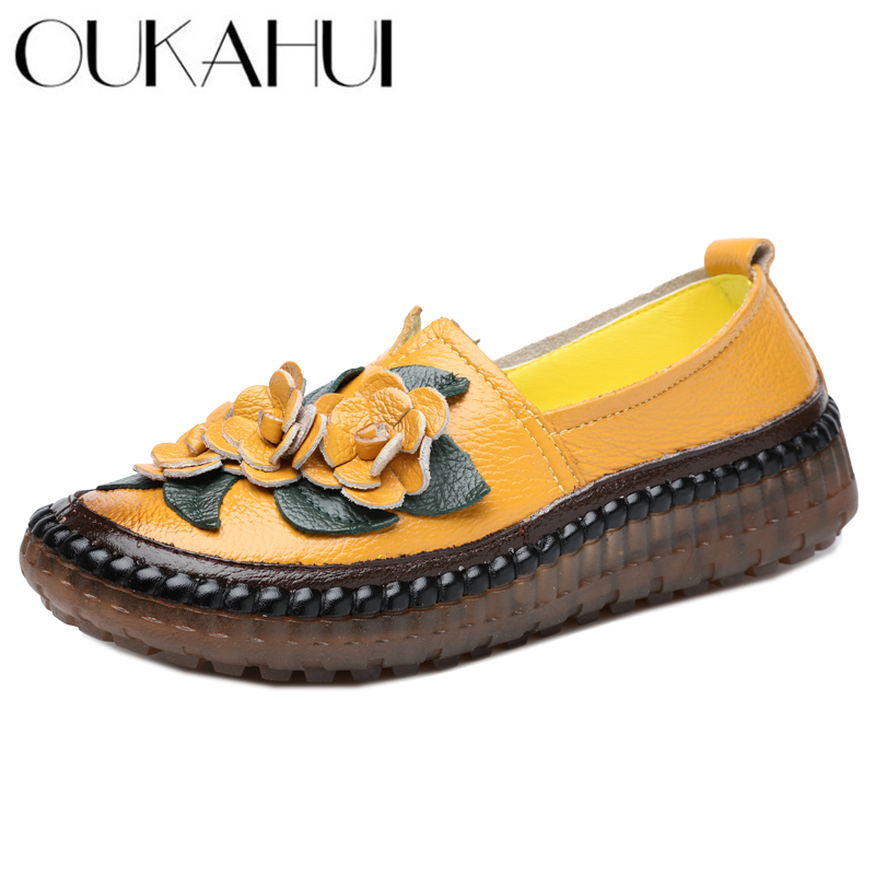 OUKAHUI Retro Handmade Genuine Leather Loafers Flat Shoes Women Spring Round Toe Appliques Soft Slip-On Casual Lady Flat Shoes (China)