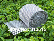 24 rows,Platinum Color Sparkle fake Rhinestone Crystal Diamond Mesh Wrap Roll Ribbon,10 yards /roll,No crystal included(China)