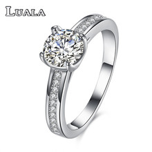 LUALA Bright Crystal Zircon Rings For Women Plated Elegant Wedding Ring Lace Retro Jewelry Special Day Gift Female Rings