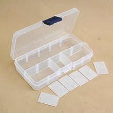 Plastic 10 Slots Adjustable Jewelry Storage Box Case Craft Organizer Beads