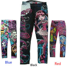 Kids Children Monster High Girls Leggings Skinny Printed Pencil Pants for Enfant Girl Child Kids Clothing 5-16 Y