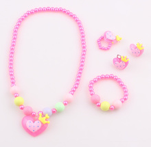 Baby Kids Heart Resin beads jewelry set Children Favorite Lovely Gift Jewelry Set accessories T3