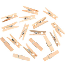 100pcs 2.5CM  Mini Natural Wooden Clothes Pin Photo Paper Peg Clothespin Craft Clips Free Shipping