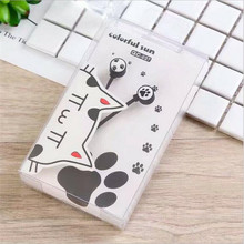 Cute Cat footprints Wired Earphones Eadbuds Mobile Phone Music Cartoon Headphones 3.5mm Plug For Children Girl Christmas Gifts(China)