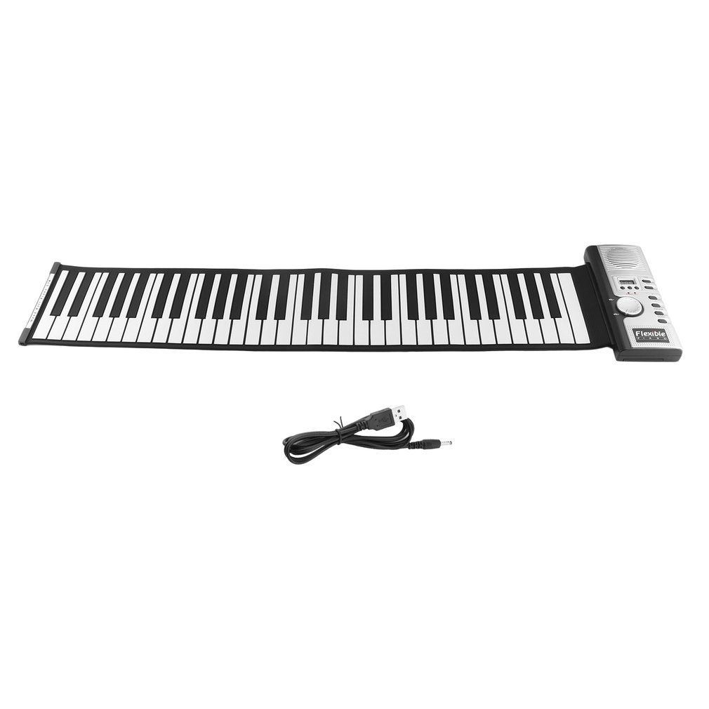 61 Keys 128 Tones Roll Up Electronic Piano Keyboard Portable Digital Keyboard Piano Flexible Rechargeable Dropshipping Hot Sale