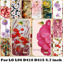 AKABEILA Flexible Silicone TPU Case Painting Flower Phone Bags Cases For LG Optimus L90 Dual Sim D410 D415 Series III L90 Covers