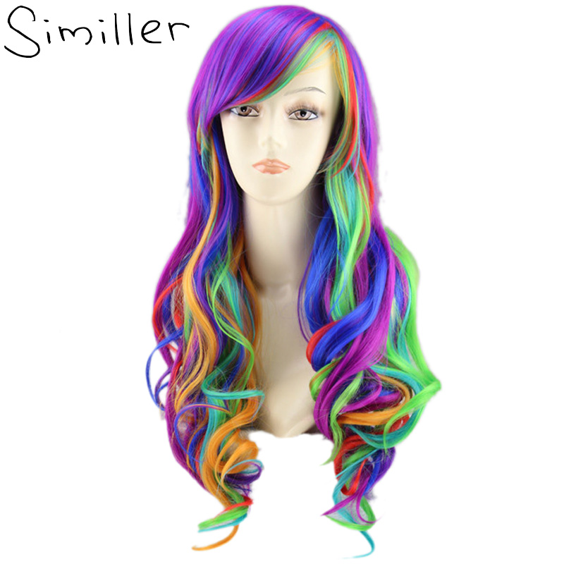 "Similler 22"" Rainbow Colorful Long Curly Women Wigs Synthetic High Temperature Fiber Fake Hair Cosplay Tilted Frisette(China)"
