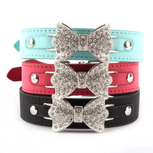 Fashion Bling Crystal Dog Collar Leather Pet Bow Adjustable Collar Puppy Cat Choker