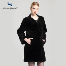 2016 New Arrival Luxury Women Winter Mink Coats From Natural Fur Italian Design Sheared Mink Real Leather Ladies Genuine Mink