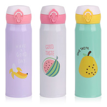 500ml Lovely Home Kitchen Cartoon Fruit Stainless Steel Insulation Cup Portable Coffee Mug Travel Drink Bottle Cute Gifts
