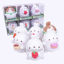 Lovely Cute Molang Rabbit PVC Figure Model Toys Dolls Piggy Bank Kids Toys Gifrs Gifts 14cm Boxed 6 Styles