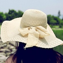 10 Colors Women Bowknot Wide Brim Summer Beach Sun Hat Lady Vacation Straw Cap