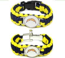 Hot selling Football Fans San Diego lightning Paracord Survival Bracelet Friendship Outdoor Camping Bracelet 6pcs/lot(China)
