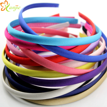 Chic European 10mm15 Colour 45pcs/lot Girls Hair Clasp For Kids Satin Covered Plastic Hairband Hair accessories DIY Headwear