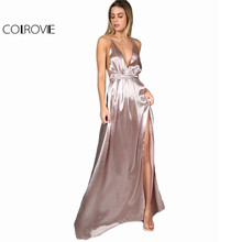 COLROVIE Maxi Party Dress Women Pink Plunge Neck Sexy Cross Back Wrap High Slit Summer Dresses 2017 Elegant Club Long Cami Dress(China)