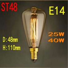 Whole Sale ! New Style! ST48 E14 AC200-220V 25W 40W 60W DIY Vintage Antique Retro Style Lighting Filament Edison Lamp Bulb