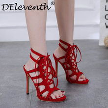 High Heels Women Sandals Summer Gladiator Heeled Lace Up Female Platform Shoes  Sexy Wedding Party Dress Ladies Woman Shoes Red40 e83e6fed5fbe