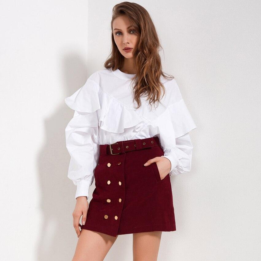 Hohe Taille Röcke Frauen Herbst 2018 Neue Ankunft Casual Rock Rot Schwarz Doppel Tasten Mode Streetwear Frauen Rock Mit Gürtel