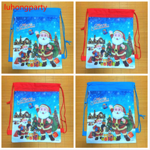1pcs christmas father postcard printed hanging drawstring bags christmas xmas ornament decoration shopping backpack(China)