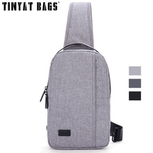 TINYAT Chest Bags For Men Travel Crossbody Bag Black Messenger Bag Waterproof Nylon Sling Bag For Ipad Handbag Gray T608