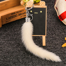 Pendant Finger Tail Tail Key Pendant Fur Car Key Chain Mink Hair Tail Pendant Drill(China)