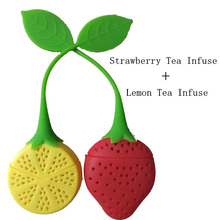 1PCS Silicone Strawberry + 1PCS Lemon Loose Tea Leaf Strainer Herbal Spice Infuser Filter Diffuser