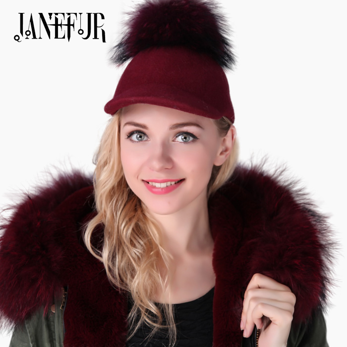 New Brand London Style Fur Ball Baseball Cap Women Real Colorful Raccoon Fur Pompon Snapback Caps Horseman Hat<br>