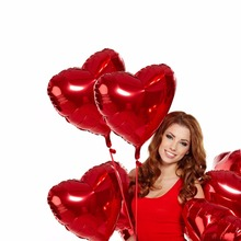 18inch Love Shape Foil Balloon Wedding Valentine's Birthday Party Red Heart Helium Balloon Decor Supplies Romantic Love ball