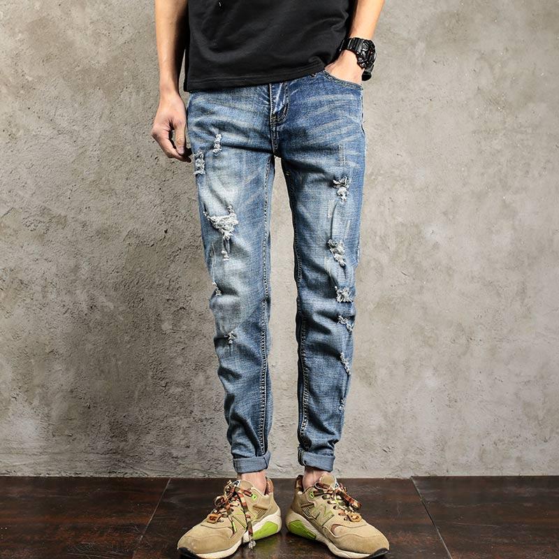 Streetwear Mens Ripped Biker Jeans homme Mens fashion Motorcycle Slim Fit Blue Moto Denim Pants Joggers Skinny in Mens JeansÎäåæäà è àêñåññóàðû<br><br>
