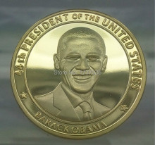 20pcs/lot The president of United state Barack Obama America 1oz 24k gold plated souvenir coin.40*3mm