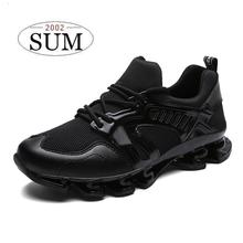 Male summer sneakers breathable mesh sport shoes lace-up men's running shoes lightweight and comfortable walking shoes cushion