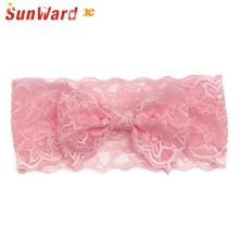 SunWard Headbands Newly Design Fashion Girls Lace Big Bow Hair Band Children Head Wrap Headwear Band Accessories Drop Shipping