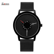 2017 men gift Enmex brief design stainles steel strap creative Upside down hand unique design for young fashion quartz watches(China)