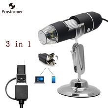 Prostormer 1000X Mobile Andrews, Tablet, Computer 3 in 1 8 LED Digital Microscope USB Magnifier Endoscope Camera Microscopio(China)