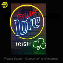 Miller Lite old beer Irish Cover Neon Sign Glass Tube Neon Bulb Sign Beer Sign lighted Lamp ARTWORK Handcraft light up for sale(China)