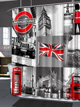 WARM TOUR  London Fashiion Shower Curtain Polyester Curtain Hotel/Bathroom With Hooks Ring Grey and Red 72 x 72-Inch