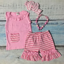 baby girls summer spring outfit girls top pink stripe shorts clothing girls summer shorts outfits boutique sets with accessories