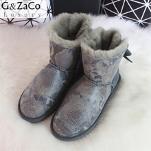 G&Zaco Winter Sheepskin Boots Natural Wool Sheep Fur Snake Bandage Bow Low Boots Female Genuine Leather Shoes Fashion Flat Boots(China)