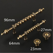 "96mm village retro furniture handle 64mm bronze kitchen cabinet drawer pull 2.5"" antique brass dresser cupboard door knob handle"