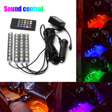 4pcs Car RGB LED Strip Lights RGB Color Car Decorative Atmosphere Lights Car Interior Lamp Sound Music Actived Lamp With Remote