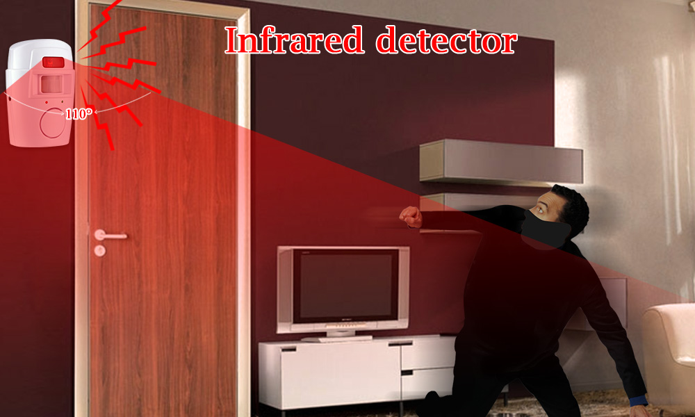 Home Security PIR MP Alert Infrared Sensor Anti-theft Motion Detector Alarm Monitor Wireless Alarm system+2 remote controller 9