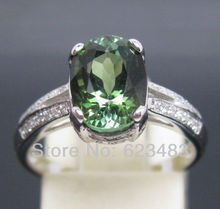 SOLID 14K WHITE GOLD SPARKLY GREEN TOURMALINE . ENGAGEMENT WEDDING RING