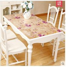 PVC table cloth transparent crystal board soft glass tablecloth table mat(China)