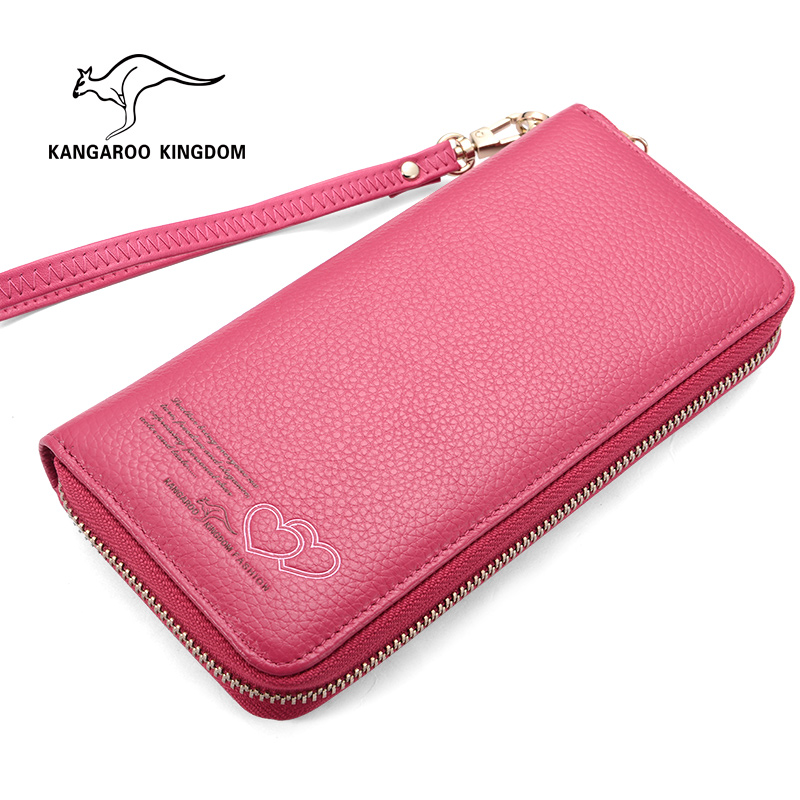 Kangaroo Kingdom Famous Brand Women Wallets Genuine Leather Long Purse Zipper Lady Clutch Wallet<br>