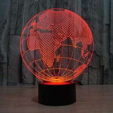 2017 New Acrylic Europe Globe 3D Lamp Touch Wwitch USB 3D Visual Colorful Atmosphere Christmas Gift Children's nightlight(China)
