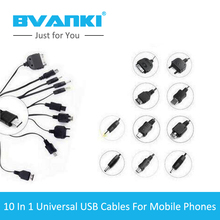 [Bvanki 10IN1]50Pcs/lot best selling products Universal 10 In 1 USB Charging cable with 10cm USB Charger Multi Cable