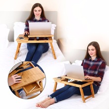Laptop Desk Kids Table Adjustable 100% Bamboo Foldable Breakfast Serving Bed Tray Tilting Top Drawer TV Dinner Tray(China)
