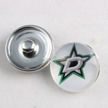18MM Dallas Stars Snap Button Ice Hockey Sports Team Glass Buttons Snap Charms Fit Snaps Earrings 10Pcs/lot