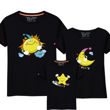 95% Cotton&5% Silk Sun Moon Star Design Family Matching Clothes Cartoon Short-sleeved T-shirt Summer Couples Matching Outfits(China)