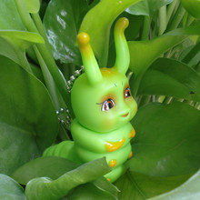 2015 New Summer Style Green Caterpillar Cartoon Keychains Silicone Plastic Doll Pendant Keychain dropshipping